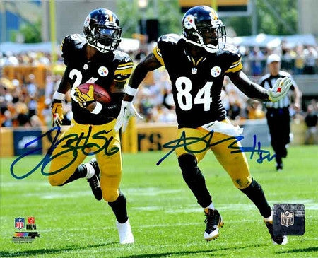 Antonio Brown and Le'Veon Bell Dual Signed 8x10