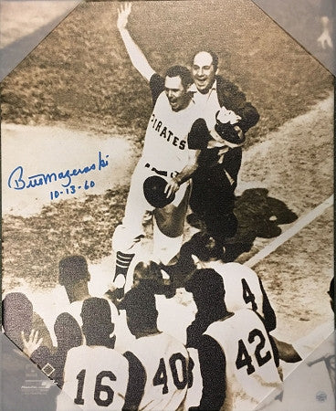 Bill Mazeroski Autographed Pre-Mobbed 11x14 Stretched Canvas with 10.13.60 Inscription