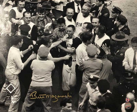 Bill Mazeroski Autographed 1960 World Series Mobbed at Homeplate16x20 Photo