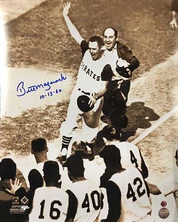 Bill Mazeroski Autographed 1960 World Series Pre-Mobbed 16x20 Photo with 10.13.60 Inscription