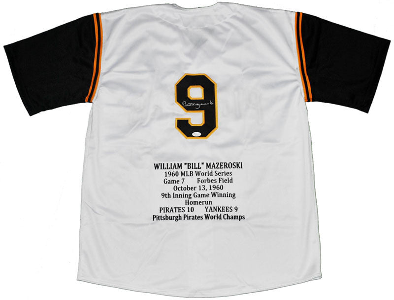 Bill Mazeroski Autographed Pittsburgh Pirates White STAT Custom Jersey with HOF01