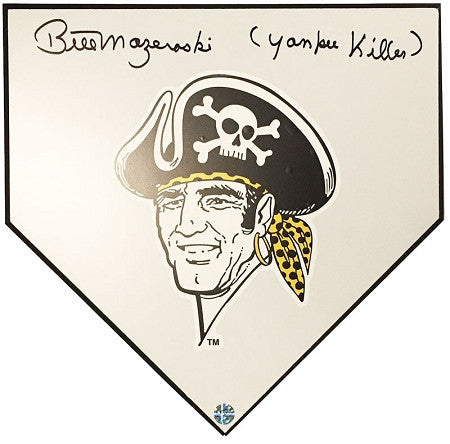 Bill Mazeroski Buccaneer Home Plate Autographed and inscribed Yankee Killer
