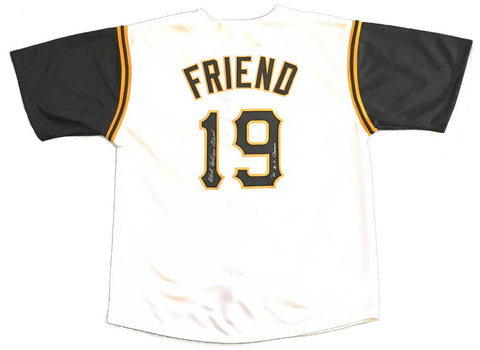 Bob Friend Autographed Pittsburgh Pirates White Custom Jersey with Black Sleeves with 60 WS Champs