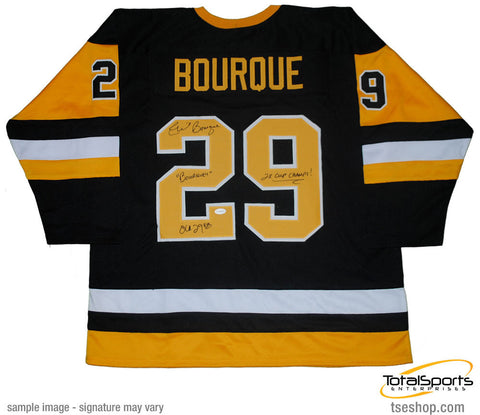 Phil Bourque Autographed Pittsburgh Penguins Throwback Black Custom Jersey Triple Inscribed