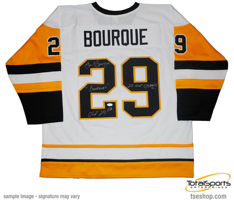 Phil Bourque Autographed Pittsburgh Penguins Throwback White Custom Jersey Triple Inscribed