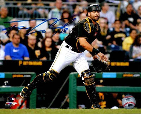 Francisco Cervelli Signed Throwing Runner Out in Black 16x20