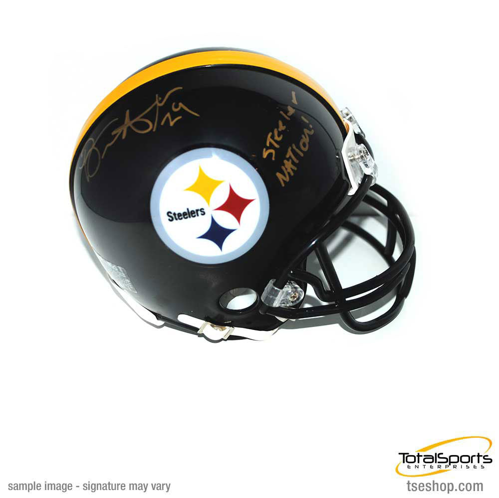 "Brian Allen Signed Pittsburgh Steelers Logo Mini Helmet with ""Steeler Nation"""