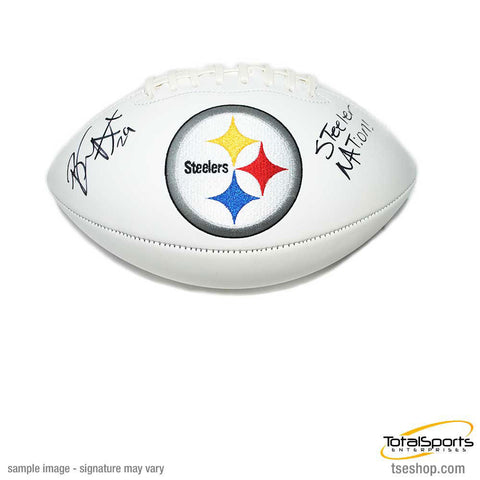 Brian Allen Signed Pittsburgh Steelers White Logo Football with Steeler Nation