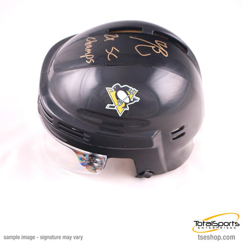 Bryan Rust Autographed Pittsburgh Penguins Black Mini Helmet with 2X SC Champs