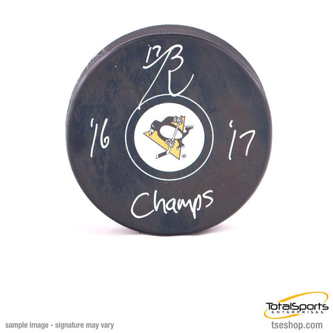 Bryan Rust Autographed Pittsburgh Penguins Logo Puck with '16 '17 Champs