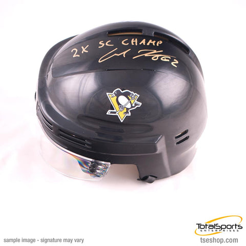 Carl Hagelin Autographed Black Pittsburgh Penguins Mini Helmet with 2X SC Champs