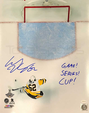 Carl HagelinAutographed 2017 Stanley Cup Winning Empty Netter Photo16x20 with Game! Series! Cup!