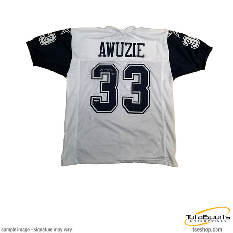 Chidobe Awuzie Signed Custom White with Blue Sleeves Football Jersey