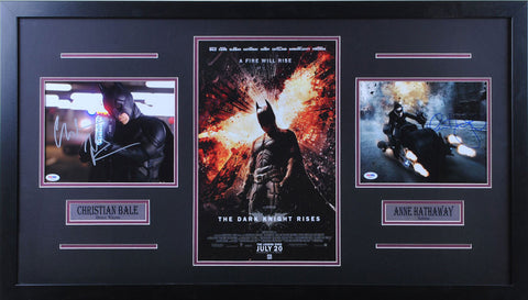 Christian Bale / Anne Hathaway Signed 8x10 with gun/8x10 batmoblie/11x17 Dark Knight Rises - Professionally Framed