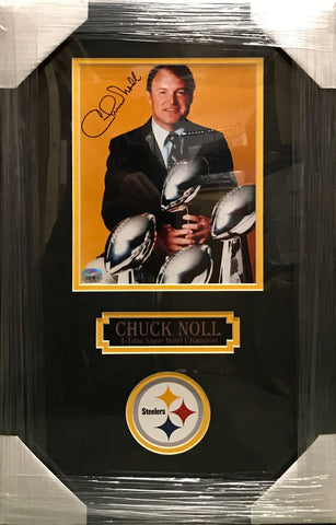 Chuck Noll with Super Bowl Trophies Vertical 8x10 Signed - Professionally Framed