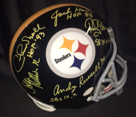 Chuck Noll Jack Ham Rocky Bleier Andy Russell and John Stallworth Autographed Replica Helmet