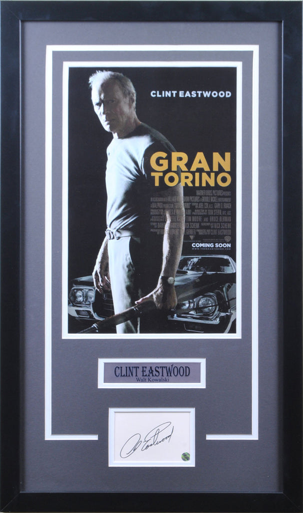 Clint Eastwood Signed Cut Out with Gran Torino 11x17 Poster