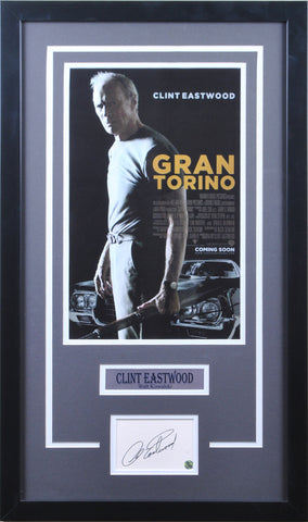 Clint Eastwood Signed Cut Out with Gran Torino 11x17 Poster - Professionally Framed