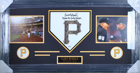 Clint Hurdle Homeplates - Camo P - Raise The Jolly Roger - Signed - Professionally Framed