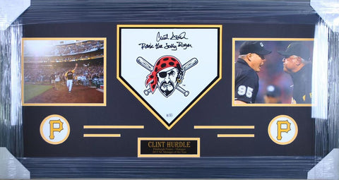 Clint Hurdle Homeplates - Jolly Roger - Raise The Jolly Roger - Signed - Professionally Framed
