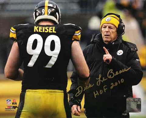 Dick LeBeau Autographed 16x20 Photo with Brett Keisel inscribed 'HOF 2010'