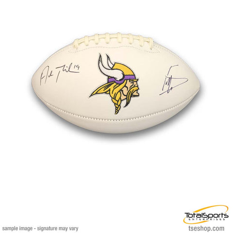 Adam Thielen and Stefon Diggs Signed Minnesota Vikings White Logo Football