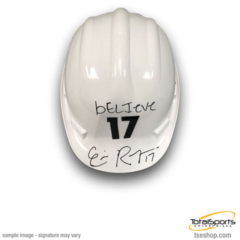Eli Rogers Autographed White Hard Hat Helmet with bELIeve