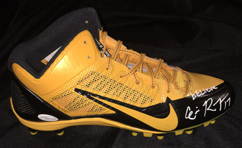 Eli Rogers Autographed Black & Gold Cleat Inscribed