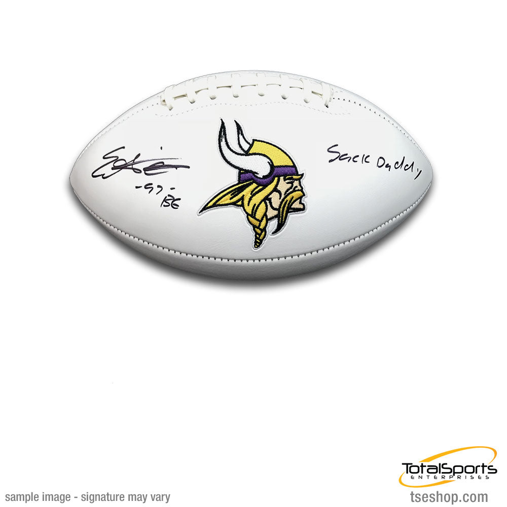 Everson Griffen Signed Minnesota Vikings White Logo Football with Sack Daddy