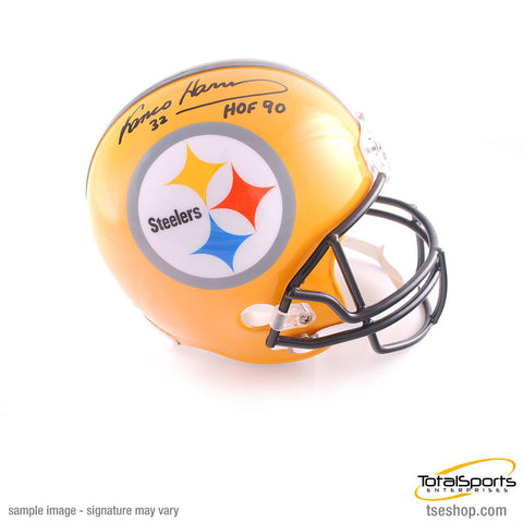 Franco Harris Autographed Pittsburgh Steelers 75th Anniversary Replica Helmet with 'HOF 90'