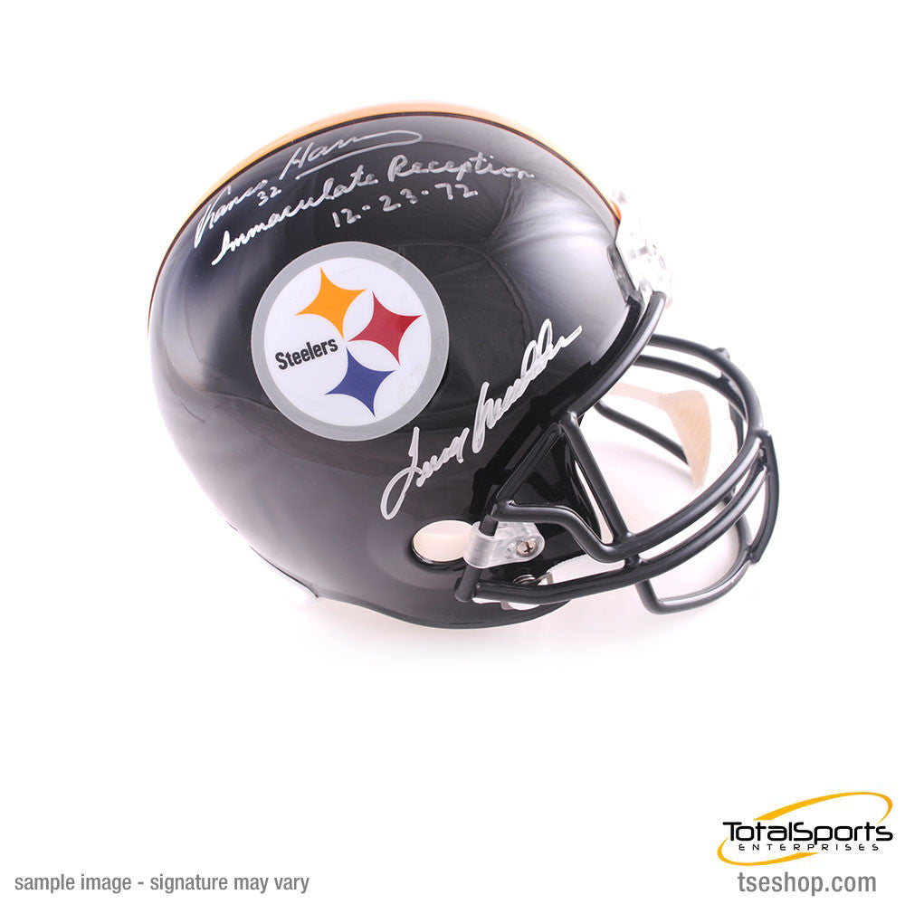 "Terry Bradshaw and Franco Harris Autographed Replica Steelers Helmet with ""Immaculate Reception 12-23-72"" Inscription"