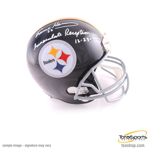 Franco Harris Autographed Black Replica Throwback Helmet