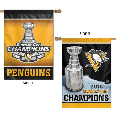 Penguins Stanley Cup Dbl Sided Porch Flag