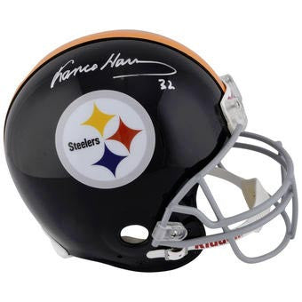 Franco Harris Autographed Black Replica Throwback Helmet 'HOF 90'