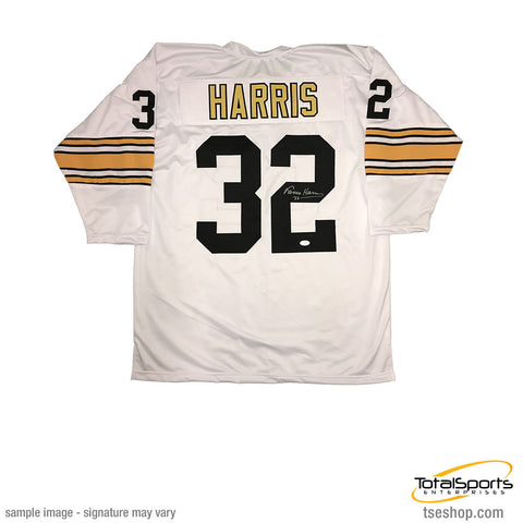 Franco Harris Autographed Pittsburgh Steelers White 3/4 Sleeve Custom Jersey