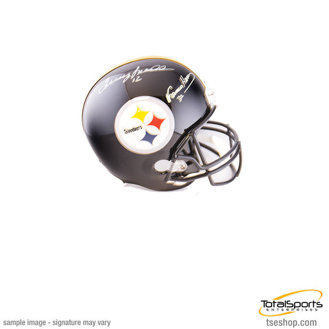 Terry Bradshaw and Franco Harris Autographed Replica Steelers Helmet