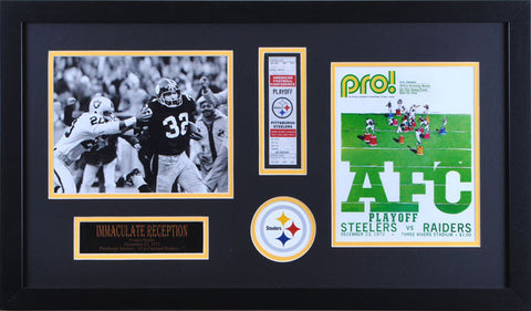 Franco Harris Unsigned Immaculate Reception Horizontal with ticket and program 8x10 - Professionally Framed