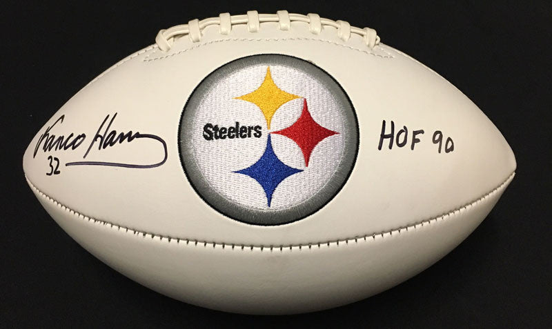 Franco Harris Autographed White Football with HOF 90 Inscription