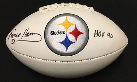 Franco Harris Autographed White Logo Football with HOF '90 Inscription