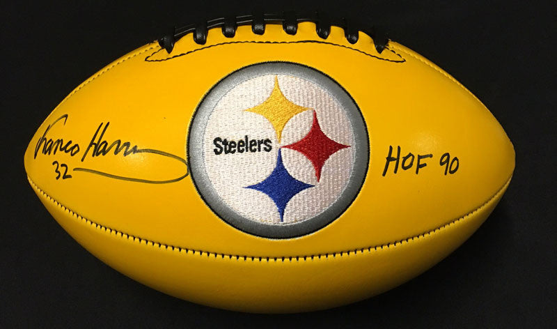Franco Harris Autographed Yellow Football with HOF 90 Inscription