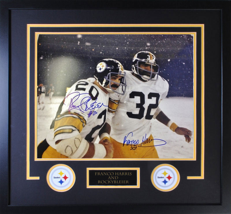 Rocky Bleier / Franco Harris In Snow Cover Dual Signed 16x20