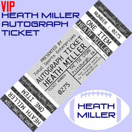 VIP AUTOGRAPH TICKET: Get YOUR Flat (16x20 Or Over) Mini Helmet or Premium Item Signed IN PERSON by Heath Miller