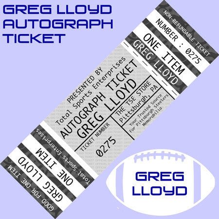 AUTOGRAPH TICKET: Get YOUR Flat Up To 16x20 or Mini Helmet Signed IN PERSON by Greg Lloyd