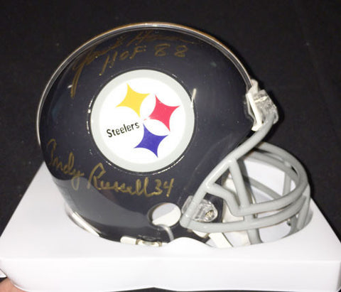 Andy Russell and Jack Ham Autographed Pittsburgh Steelers Black Throwback Mini Helmet