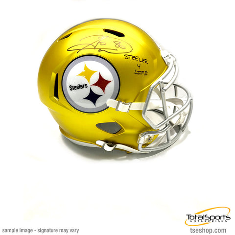 Hines Ward Autographed Pittsburgh Steelers BLAZE Replica Helmet with Steeler 4 Life