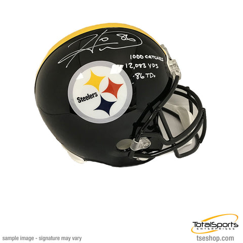 Hines Ward Autographed Pittsburgh Steelers Triple STAT Replica Helmet