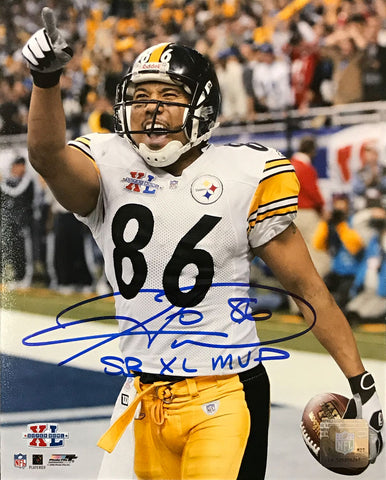 Hines Ward Signed Pointing After TD SB XL 16x20 Photo with SB XL MVP