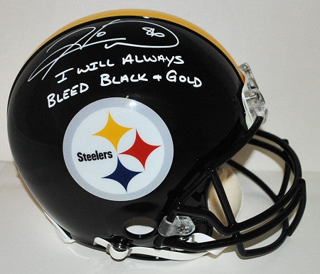 Hines Ward Autographed Authentic Helmet with inscription I Will Always Bleed Black & Gold (White Ink)