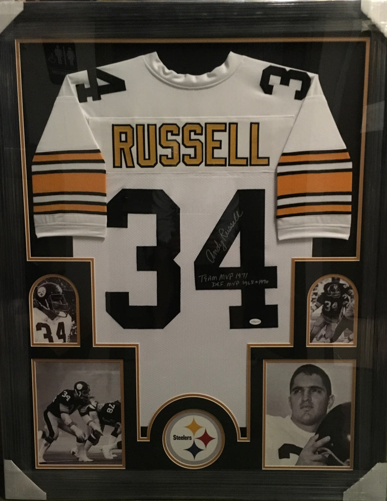 Andy Russell White Jersey with 2 inscriptions - Professionally Framed