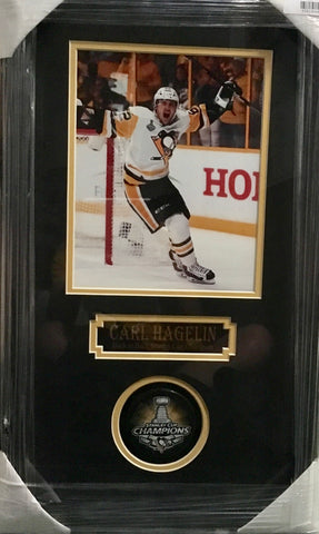 Carl Hagelin Signed SC2017 Puck and 8x10 Photo Shadowbox